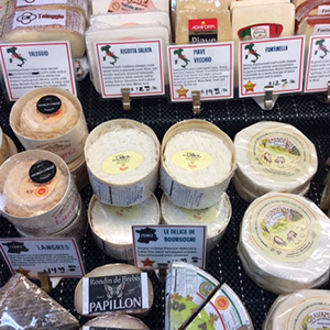 Cheese case with selections of cheeses